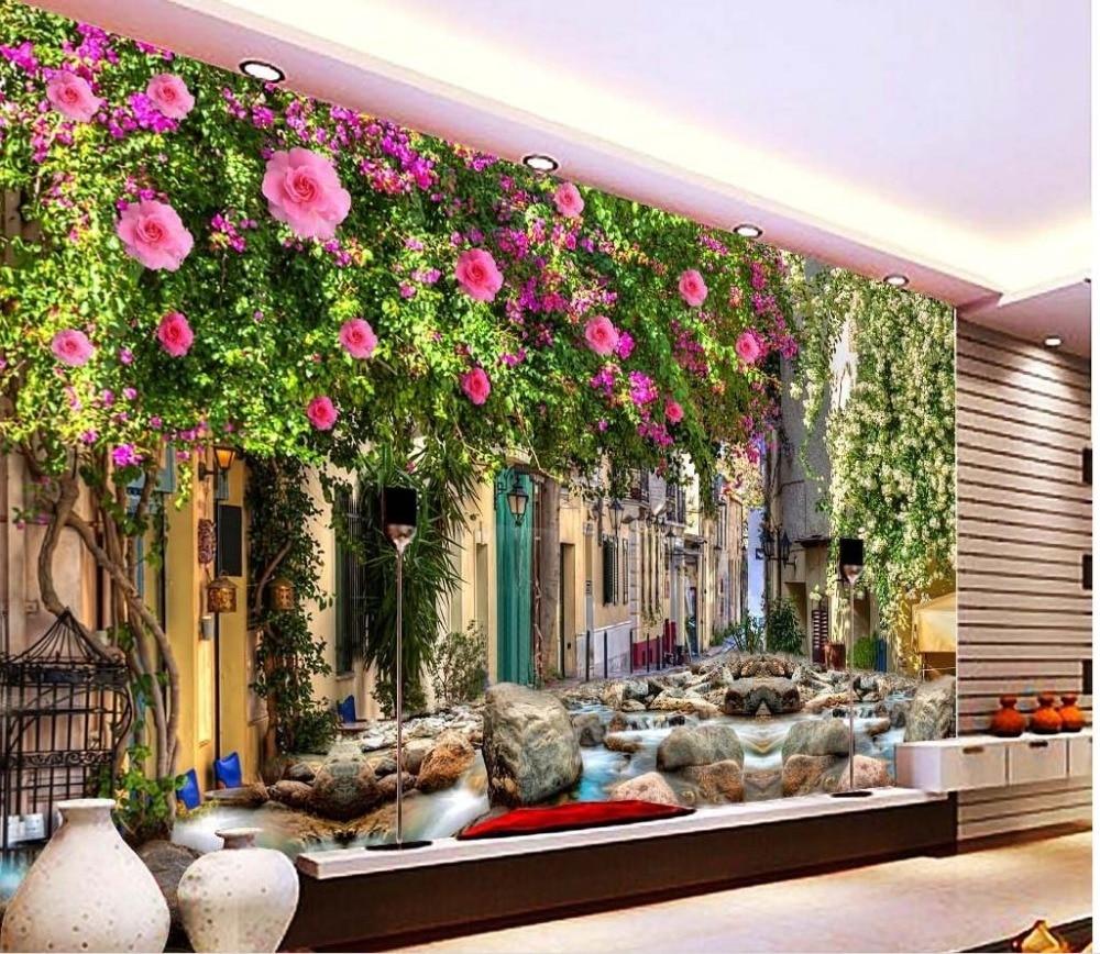 custom 3d wallpaper Dream Flower Vine Wall Brick Wall ...