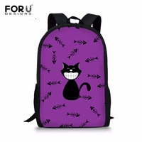 FORUDESIGNS Cute Cartoon Cat Printed Children Girls Boys School Bags High Quality Shoulder Book Rucksack Casual Travel Beach Bag