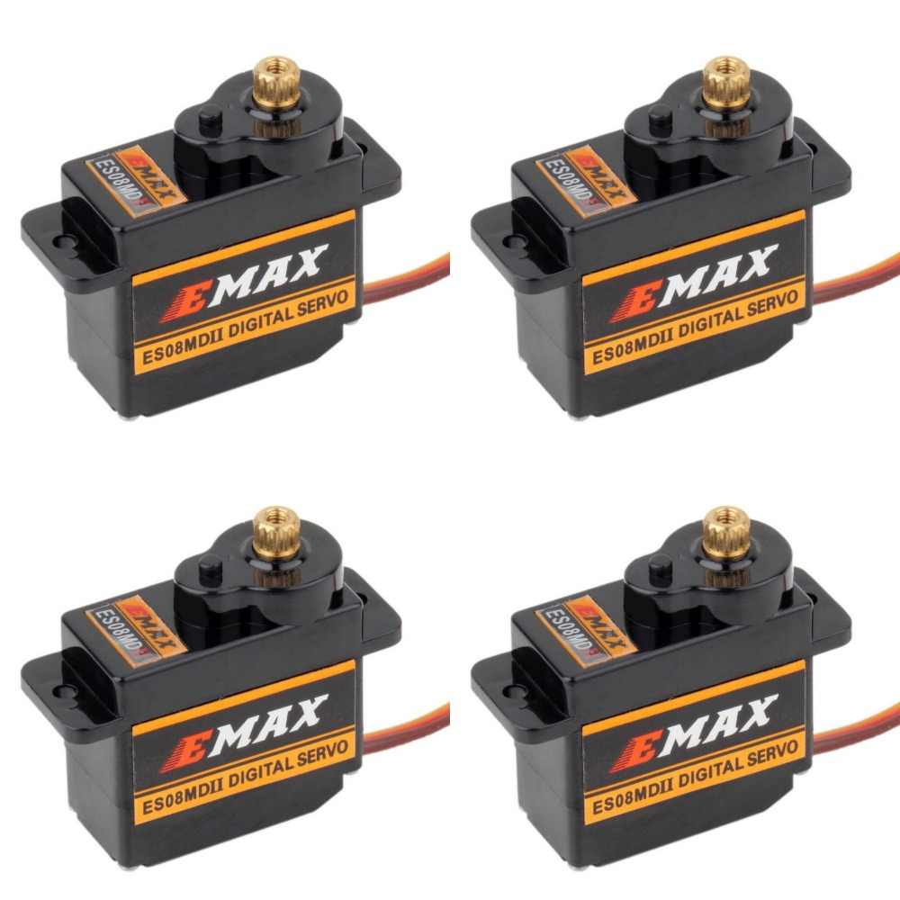 4 stuks EMAX ES08MDII ES08MD II Digitale Servo 12g/2.4 kg/High-speed Mini Metal Gear