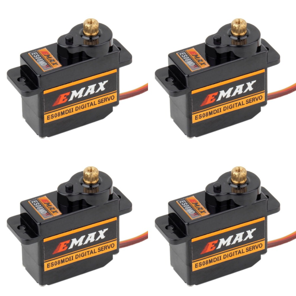 4pcs EMAX ES08MDII ES08MD II Digital Servo 12g/ 2.4kg/ High speed Mini Metal Gear-in Parts & Accessories from Toys & Hobbies