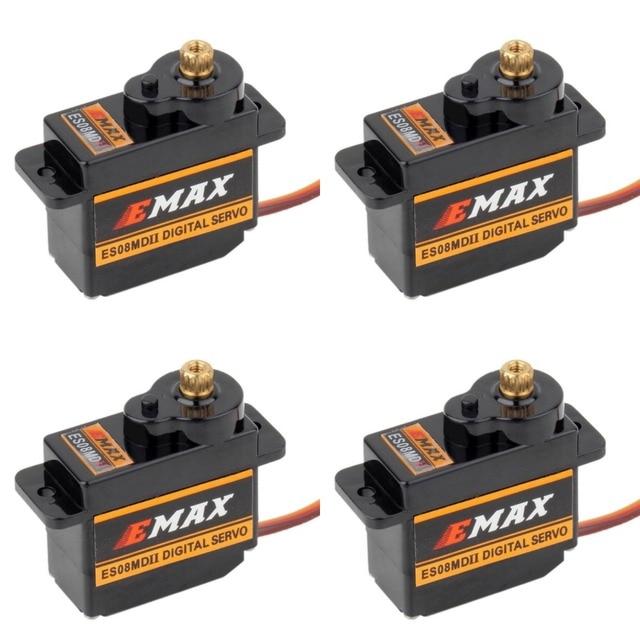EMAX Servo Digital ES08MDII ES08MD II, Mini engranaje de Metal de alta velocidad, 12g/2,4 kg, 4 Uds.