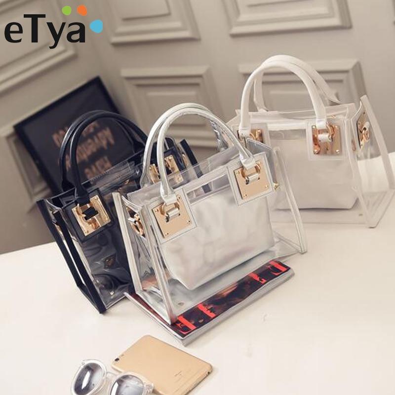 eTya High Quality Ladies Messenger Bags Transparent PVC Shoulder Bags Women Crossbody Bag for Female Travel Tote Women Handbags