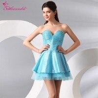 Alexzendra Blue Short Mini Prom Dresses 2018 Transparent Beads Mini Party Dresses Customize