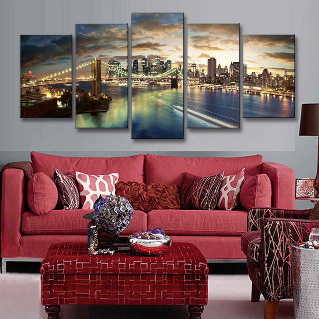 Aliexpress Com Buy 4 Panels Modern Printed Coffee Canvas: Aliexpress.com : Buy 5 Pcs/Set Modern Landscape Painting
