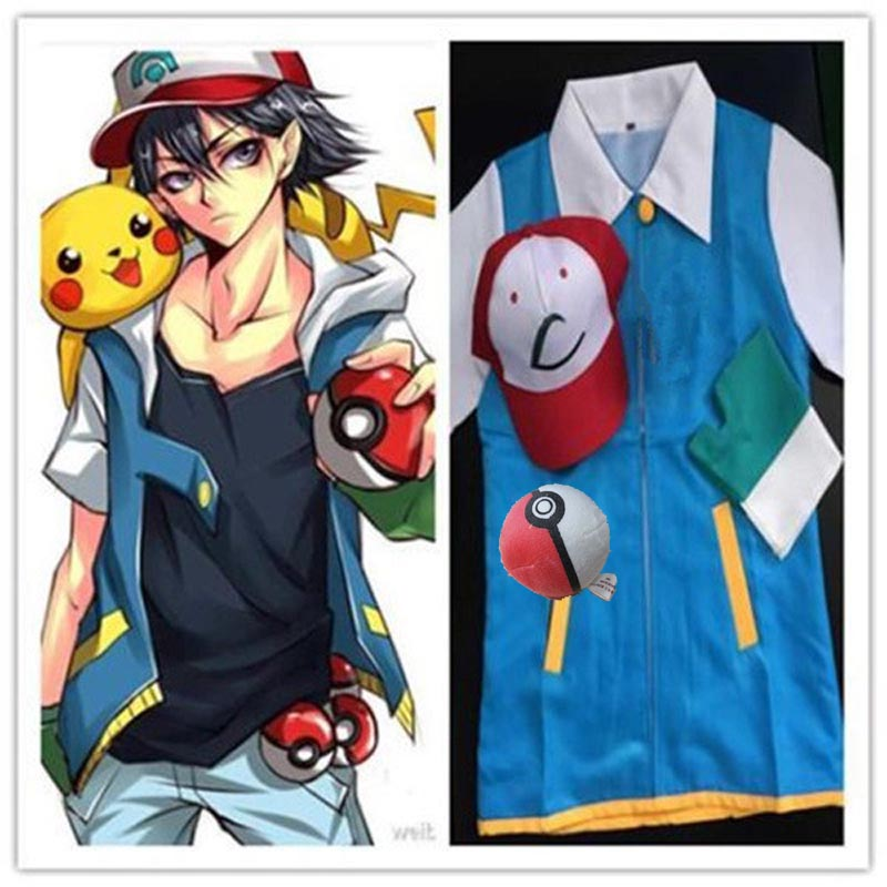 Anime Pokemon Ash Ketchum Trainer Traje Cosplay Jacket + Gloves + Hat - Disfraces