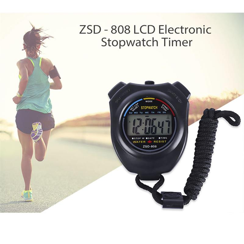 RUNACC Waterproof Stopwatch Handheld Electronic Timer Multi-functional Sports Counter with LCD Display and Date Calendar Black