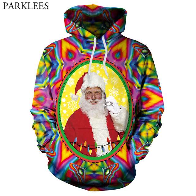 Christmas Hooded Sweatshirt Men Women 2018 Psychedelic Santa Claus 3D Funny Printed  Mens Hoodies Sweatshirts Hip Hop Sweat Homme d4face584959