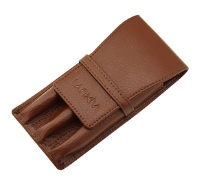 Image 2 - Leather Pencil Case Washed Cowhide Pen Case / Bag for 3 Pens , Coffee Pen Holder / Pouch High Quality for Men & Women