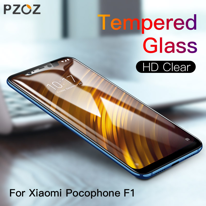 PZOZ Xiaomi Pocophone F1 Glass Mobile Phone Screen Protector Film 3D Full Cover Protective Tempered Glass Pocophonef1 Xaiomi F1