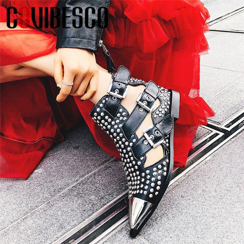 COVIBESCO جديد العلامة التجارية تصميم الأزياء فاسق النساء حذاء من الجلد 2019 الصيف الجوف الصنادل مشبك المسامير عالية الكعب أحذية الحفلات امرأة-في أحذية الكاحل من أحذية على  مجموعة 1