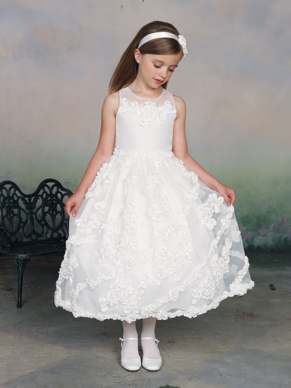 Ball Gown Jewel Sleeveless Ankle Length White Special Occasion Girls ...