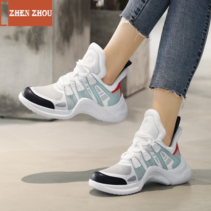 Sneakers Woman Shoes New 2019 Fashion Mesh Lace-up Round-toe Breathable Plaftorm Sneakers Dad Sneakers Women Casual Shoe