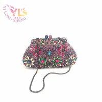 Women Evening Wallet Women Luxury Brand Floral Design Evening Clutch Handbags Handmade With High Grade Crystals