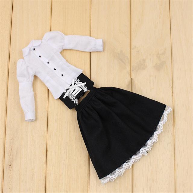 Clothes For 1/6 Blyth Suspender Dress 2 Pieces White Shirt Dress 2 Colors