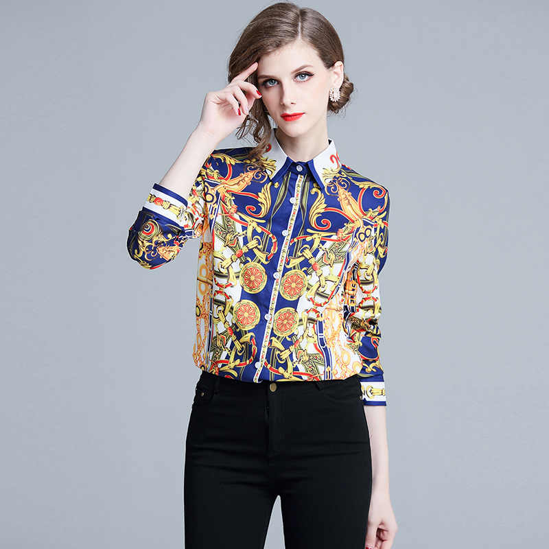 aa9469d74ba9e High Quality Women Fashion 2019 Runway Designer Shirt Women Long Sleeve  Vintage Blouse Tops Love Print