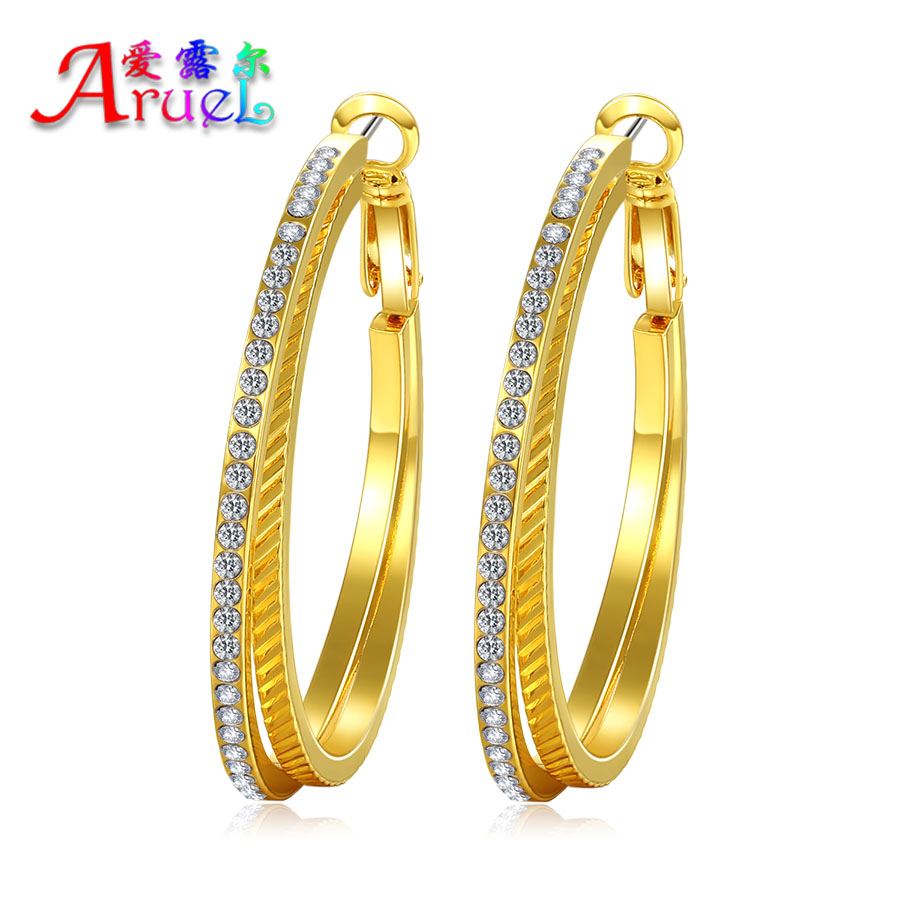 gold color jewelry Basketball Wives Big Size fashion classic Austrian Crystal rhinestone cc Wholesale hoop earrings for women