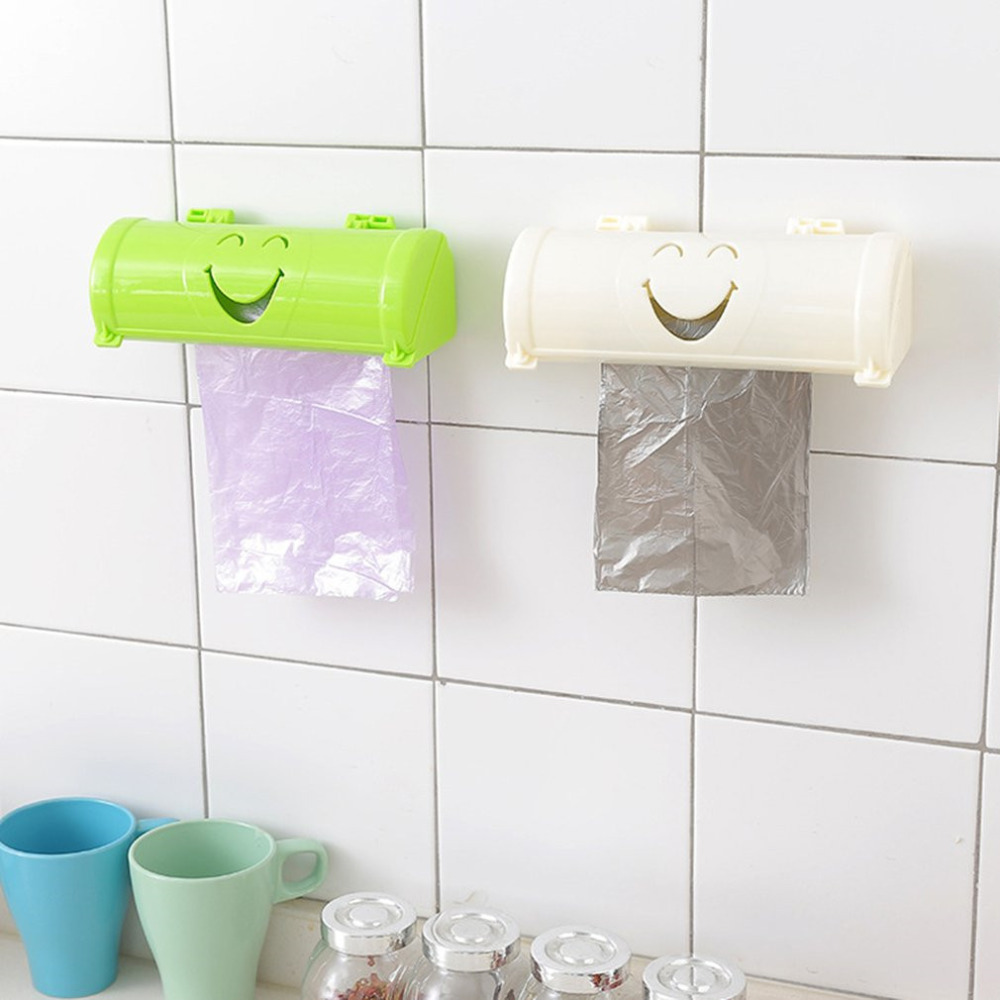 New Candy Color Smile Face Plastic Wall-mounted Garbage Bag Storage Box Kitchen Bathroom Container Organizer Trash Bag Holder