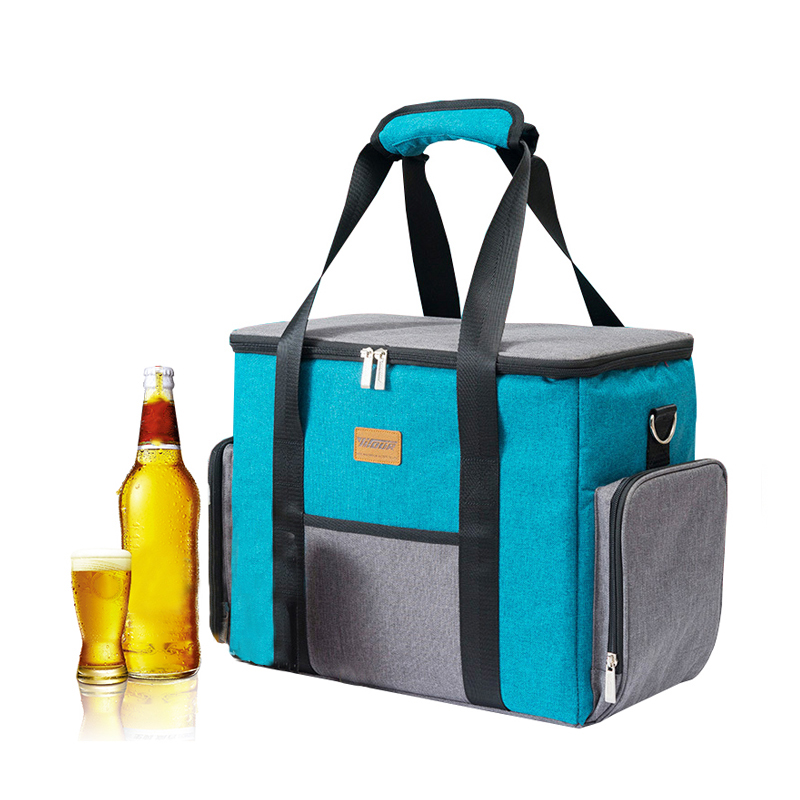 Blue Double Zip Lunch Handbags Large Capacity Insulation Cooler Bag Food Container Drink Fresh Keeping Picnic