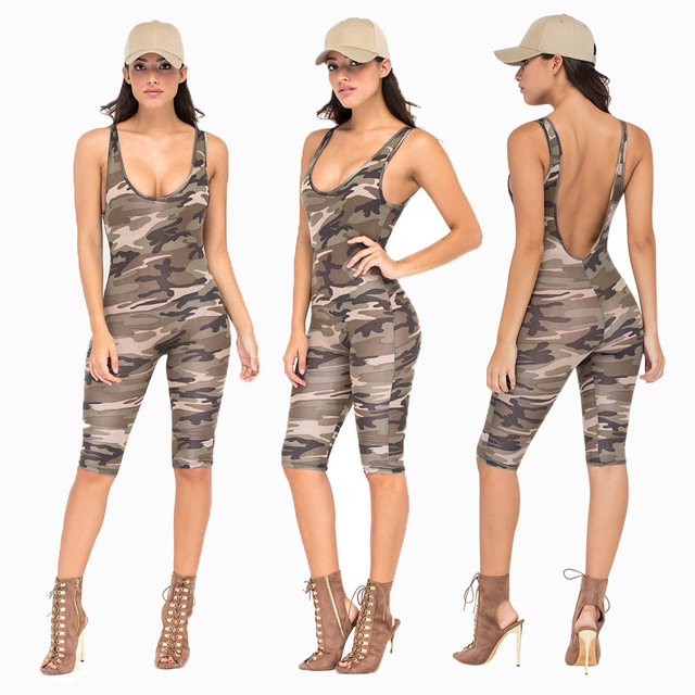 70298dfbdf92 2017 Fashion Camouflage Jumpsuit Romper Fitness Slim backless Bodysuit  Women Romper Be Stretchy Bodysuit Womens Jumpsuit