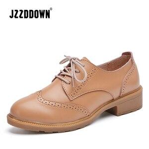 Image 2 - JZZDDOWN femmes chaussures en cuir véritable richelieu automne dames mocassins femmes femmes en cuir chaussures de luxe oxford chaussures pour les femmes