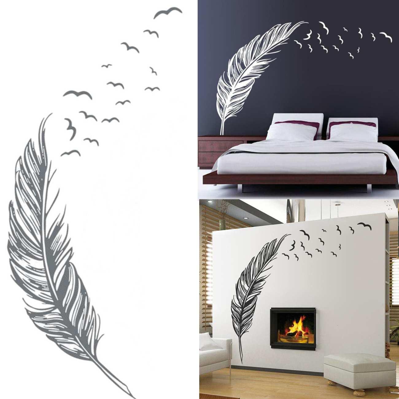 180x120cm noir blanc gris plumes capteur de rêves Stickers muraux pour chambre décor à la maison bricolage indien Style Mural Art PVC décalcomanies