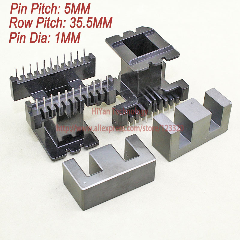 1 Sätze/los Ee55 Pc40 Ferritmagnetkern Und 11 Pins + 11 Pins Top Entry Kunststoff Spule Anpassen Spannung Transformator