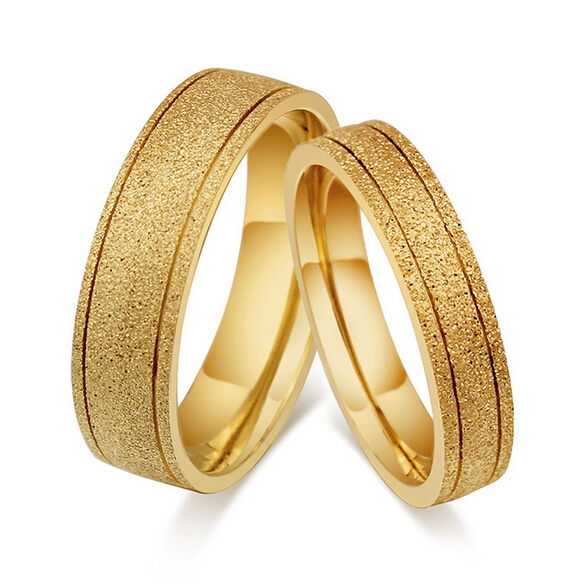 Gold Colors Couple Rings Hot Sale Simple Style Fashion Wedding Engagement Ring Women Amp Men