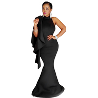 New 2017 Healthy Fabric Fashion Round Neck Sleeveless black Splice strap hang backless Polyester Women Floor length Dress