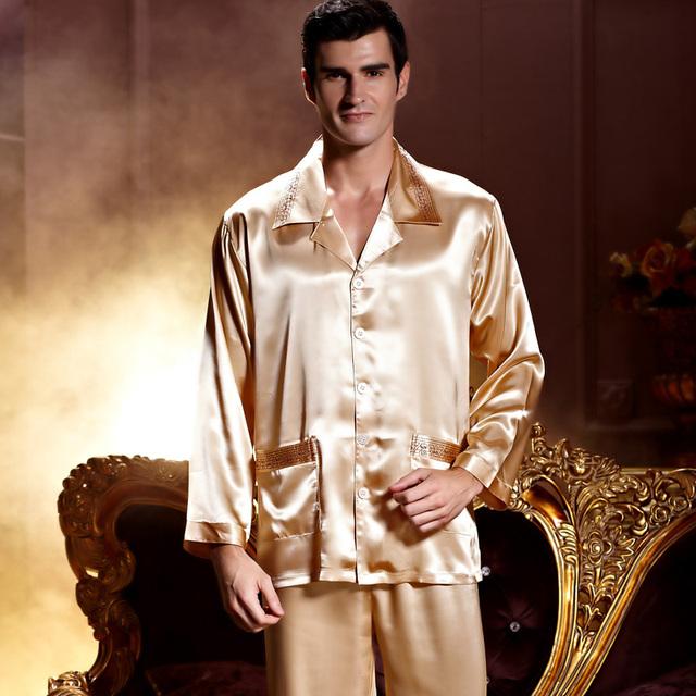 Emulación de Seda de Color Hombres de Oro Bordado Camisones de Manga Completo Turn Down Collar Conjuntos de Pijamas ropa de Dormir Suave Cerca de La Piel 2204