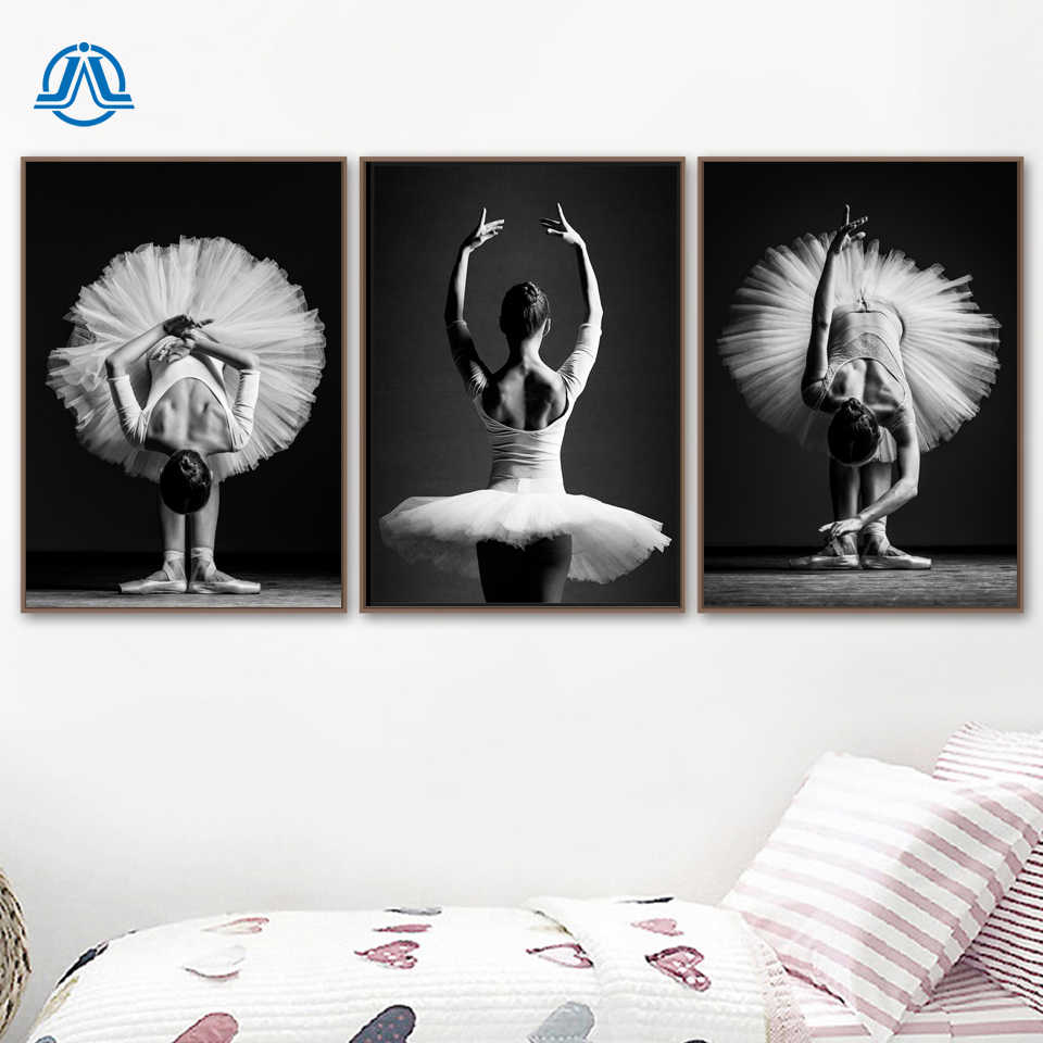 Black and White Elegant Ballet Dance Poster Prints Photo Nordic Style Girl Portrait Wall Art Pictures Home Decor Canvas Painting
