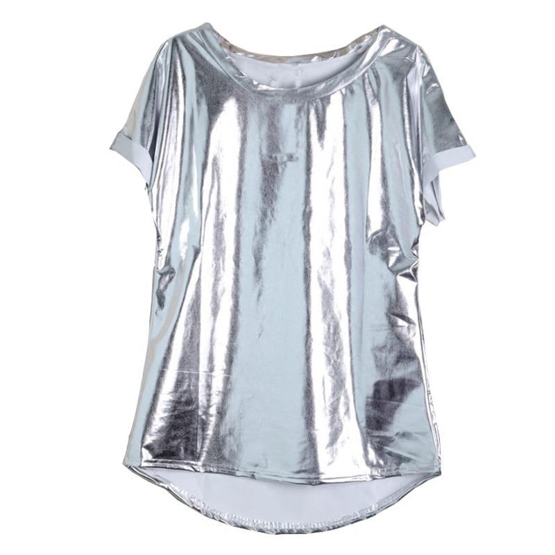 Fashion Women/'s Long Sleeve Slim T-Shirt Shiny Mesh Slim Round Collar Top Party
