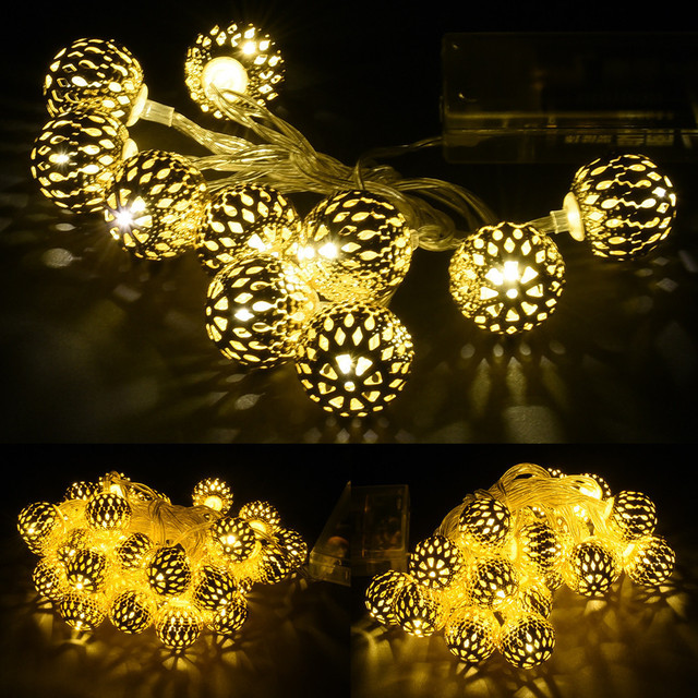 1 2 3m Golden Moroccan Orb Led String Lights Battery Operated With 10 20 30 Leds Christmas Wedding Decor Light