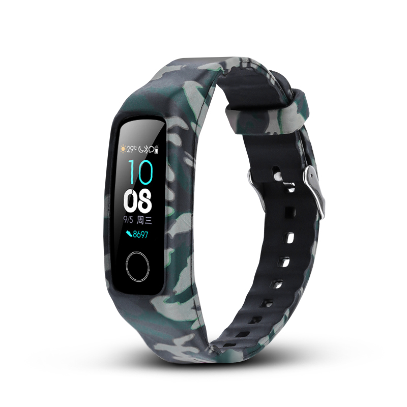 For Huawei Honor Band 4 5 Strap Soft Silicone Bracelet All-inclusive Camouflage Protective Sleeve Honor Band 4 Replace Strap
