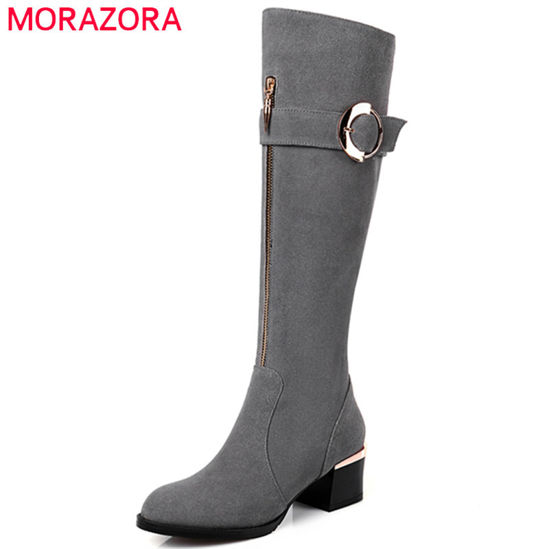 MORAZORA Cow suede shoes woman fashion top quality high heels shoes knee high boots zip black womens boots big size 34-43 memunia top quality over the knee boots fashion elegant womens boots female zip flock solid med heels shoes woman big size 34 44