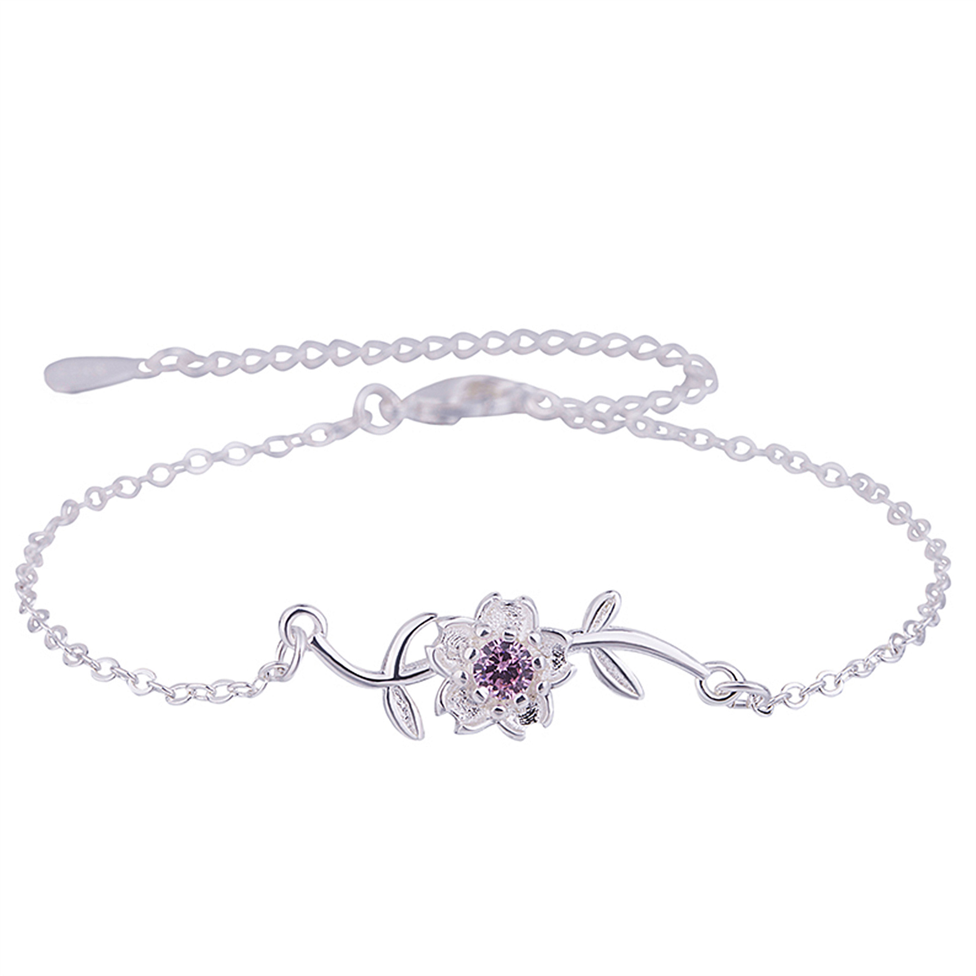 100% 925 Silver Cherry Blossom Bracelet Charm Sakura Flower Chain Bracelet For Girl Women Gift 925 Sterling Summer Jewelry 10770100% 925 Silver Cherry Blossom Bracelet Charm Sakura Flower Chain Bracelet For Girl Women Gift 925 Sterling Summer Jewelry 10770