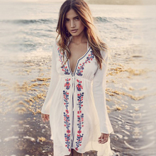 New Fashion Women Robe Beach Embroidery Vintage Swimwear Ladies Tunics Dress Wear