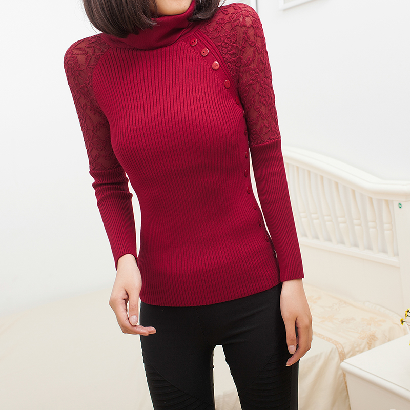 2017 spring Autumn Winter New Fashion Turtle Neck Button Lace Tricotado Women Sweater Slim Pullovers Casual Knitted Knitwear