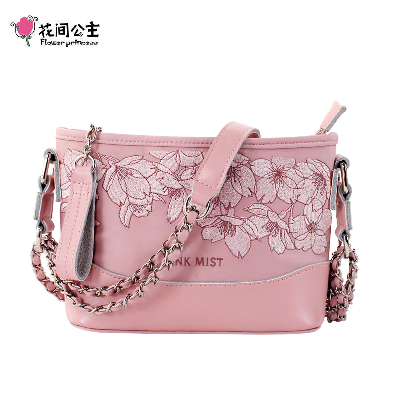 Flower Princess Multi function Embroidery Chain Hobo Bag Women Fashion Women Shoulder Bags Original Design Small