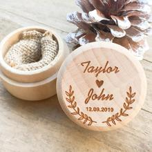 Personalized Rustic Wedding Wood Ring Box Holder Custom Your Names and Dates Bearer