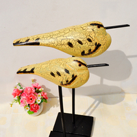 Europe Style Animal Carving Bird Figurine Home Desktop Ornaments Trendy Wooden Decor Crafts Modern Party Miniature