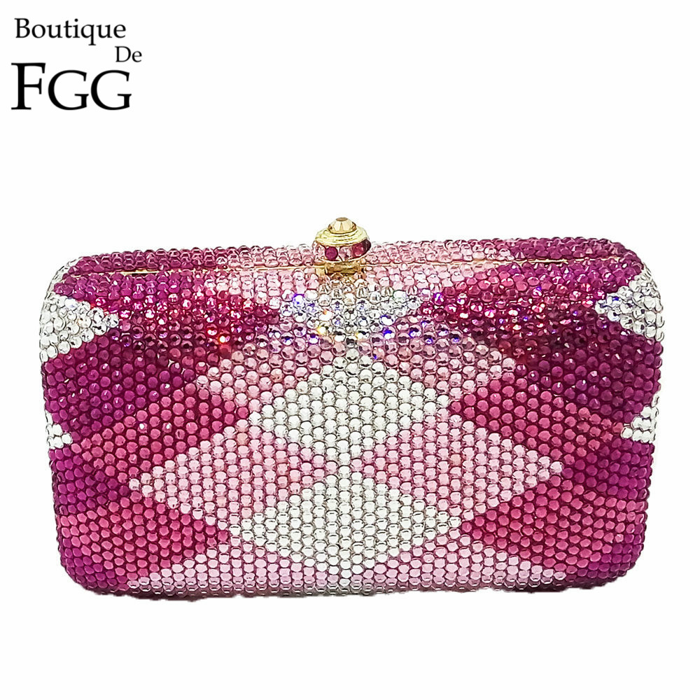 ФОТО Gift Box Women's Fully Pink & Fuchsia Plaid Crystal Diamond Metal Evening Clutches Purse Wedding Party Prom Handbag Clutch Bag