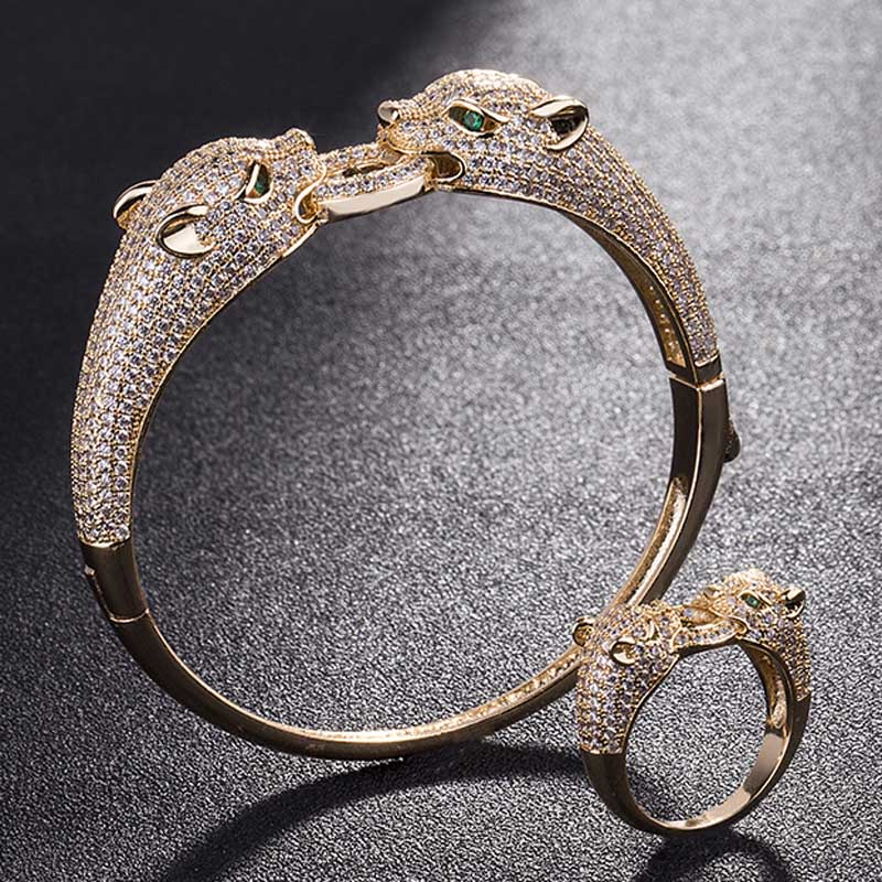 Two leopard Heads Animal Men bangle Jewelry Sets Metal Copper Bangles&Ring Bridal Jewelry Sets Cubic Bracelet Accessory SetsTwo leopard Heads Animal Men bangle Jewelry Sets Metal Copper Bangles&Ring Bridal Jewelry Sets Cubic Bracelet Accessory Sets