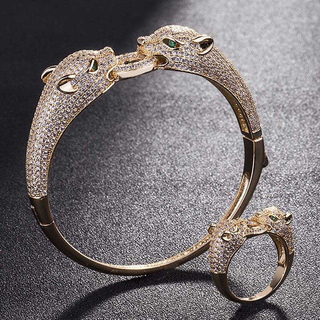 Two Leopard Heads Animal Men Bangle Jewelry Sets Metal Copper Bangles Ring Bridal Cubic Bracelet