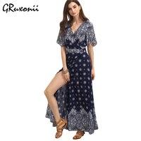 GRuxonii Hot Sale Bohemian Maxi Long Dress Printing Long Beach Dress Boho Style Pleated Slim Dresses