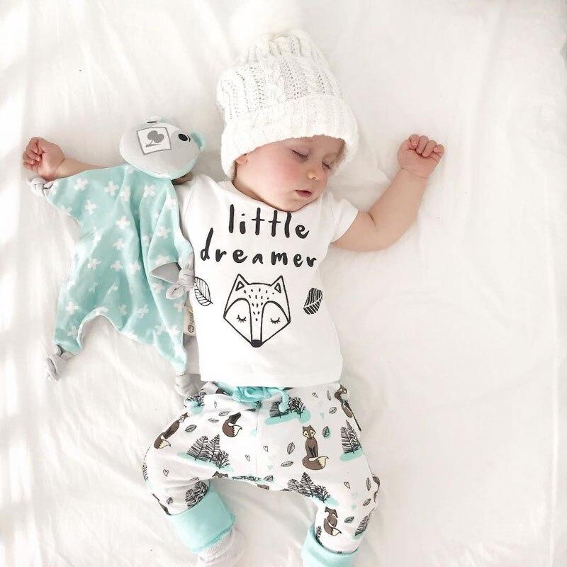 Pudcoco 0-2A d'été Nouveau-Né Bébé Garçon fille Vêtements réglés petit rêveur renard T-shirt Tops + Pantalon Tenues Vêtements Bébé Vêtements ensemble