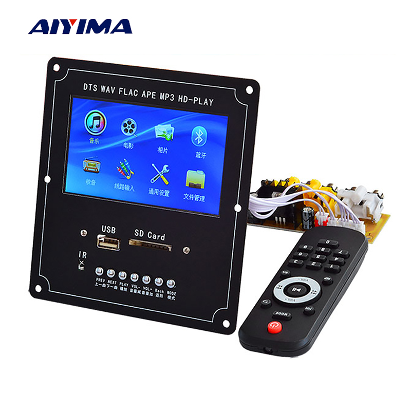 AIYIMA Audio Video Decoder LCD Screen DTS Lossless Bluetooth Module mp4/mp5 HD Video APE/WAV/MP3 Decoding Board aiyima lcd lossless bluetooth decoder dts flac ape ac3 wav mp3 decoder board decode