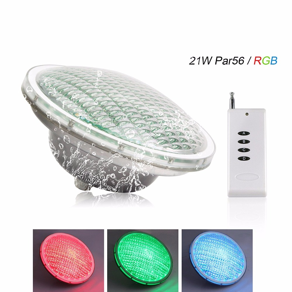 populargrow Par56 21W RGB Color Changing LED Pond Lights AC12V IP68 with Remote Control DE stock free shipping