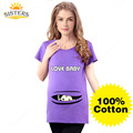 100% Cotton Tees maternity tops pregnancy maternity shirts with baby peeking out peek-a-boo maternity t-shirt baby peeking shirt