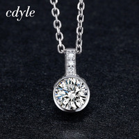 Cdyle Simple Necklace Women Beautiful Round Shape Pendants Elegant Fashion S925 Sterling Silver Jewelry Australian Rhinestone