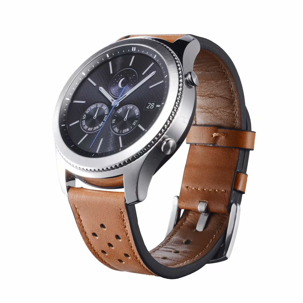 Genuine Leather Watchband for <font><b>Samsung</b></font> Gear S3 Classic Frontier 22mm Hole Bracelet for <font><b>Samsung</b></font> Galaxy Watch <font><b>46mm</b></font> <font><b>Strap</b></font> Watch Band image